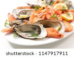 oyster and shrimp | Shutterstock . vector #1147917911