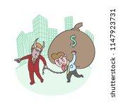 devil boss bullies staff... | Shutterstock .eps vector #1147923731