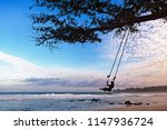 happy girl have fun swinging... | Shutterstock . vector #1147936724