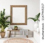 old wooden frame mock up in... | Shutterstock . vector #1147945217