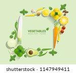 flat lay fresh vegetables on...   Shutterstock .eps vector #1147949411