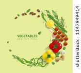 flat lay fresh vegetables on...   Shutterstock .eps vector #1147949414