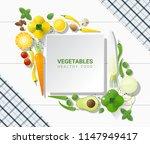 flat lay fresh vegetables on...   Shutterstock .eps vector #1147949417