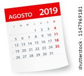 august 2019 calendar leaf  ... | Shutterstock .eps vector #1147969181