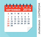 september 2019 calendar leaf  ... | Shutterstock .eps vector #1147969244