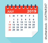 july 2019 calendar leaf  ... | Shutterstock .eps vector #1147969247