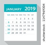 january 2019 calendar leaf  ... | Shutterstock .eps vector #1147969304