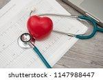 heart  stethoscope on... | Shutterstock . vector #1147988447