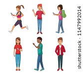 set of people using smartphone | Shutterstock .eps vector #1147992014