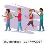 set of people using smartphone | Shutterstock .eps vector #1147992017