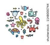 ocean life concept.  trendy... | Shutterstock .eps vector #1148000744