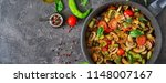 hot spicy stew eggplant  sweet... | Shutterstock . vector #1148007167