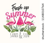 summer slogan with flamingos... | Shutterstock .eps vector #1148010764