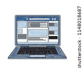 laptop with social network...   Shutterstock .eps vector #1148018687