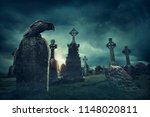 Spooky Old Graveyard And A Bir...