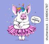 cute pig in a ballerina tutu... | Shutterstock .eps vector #1148041787