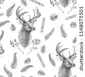 vector vintage seamless pattern.... | Shutterstock .eps vector #1148075501