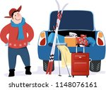 man standing at a car with open ... | Shutterstock .eps vector #1148076161