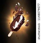 chocolate ice cream broken into ... | Shutterstock . vector #1148079077