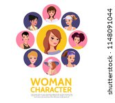 flat woman characters avatars... | Shutterstock .eps vector #1148091044
