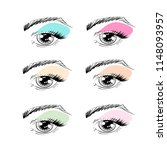 vector outline eyes with brows  ... | Shutterstock .eps vector #1148093957