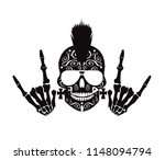 punk skull with cool sign and... | Shutterstock .eps vector #1148094794