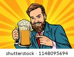 smiling man with a mug of beer... | Shutterstock .eps vector #1148095694