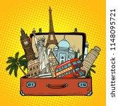suitcase with world landmarks... | Shutterstock .eps vector #1148095721
