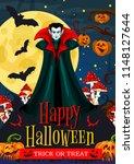 happy halloween trick or treat... | Shutterstock .eps vector #1148127644