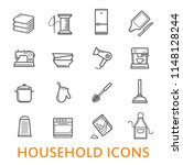 household items in thin line... | Shutterstock .eps vector #1148128244