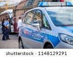 german police car stands on... | Shutterstock . vector #1148129291