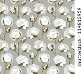 cotton plant floral seamless... | Shutterstock .eps vector #114812959