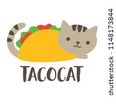 Stock vector cute and funny taco cat vector illustration 1148173844