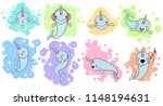 set of cute baby narwhal or... | Shutterstock . vector #1148194631