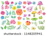 watercolor beautiful floral... | Shutterstock . vector #1148205941