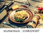 italian cuisine. fettuccine... | Shutterstock . vector #1148224187