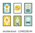 colorful childish vector cards... | Shutterstock .eps vector #1148228144