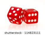 red dice isolated on a white... | Shutterstock . vector #114823111