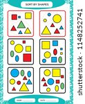 sort by shapes. sorting game.... | Shutterstock .eps vector #1148252741