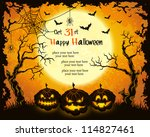 scary pumpkins  full moon ... | Shutterstock .eps vector #114827461