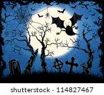 spooky vampire on cemetery.... | Shutterstock .eps vector #114827467