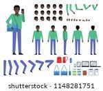 black man in green shirt...   Shutterstock .eps vector #1148281751