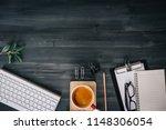dark wood office desk table...   Shutterstock . vector #1148306054