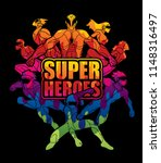 group of super heroes action... | Shutterstock .eps vector #1148316497