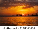 beautiful landscape with fiery...   Shutterstock . vector #1148340464