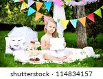 cute little girl with with... | Shutterstock . vector #114834157