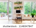 zen home office with computer... | Shutterstock . vector #1148347847