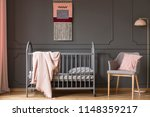 real photo of a baby crib with... | Shutterstock . vector #1148359217