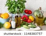 healthy cooking background....   Shutterstock . vector #1148383757