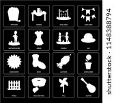 set of 16 icons such as guitar  ...